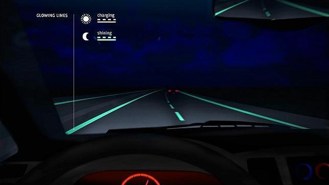 Recreación del proyecto de carretera con pintura fluorescente que ha diseñado el despacho holandés Roosegaarde