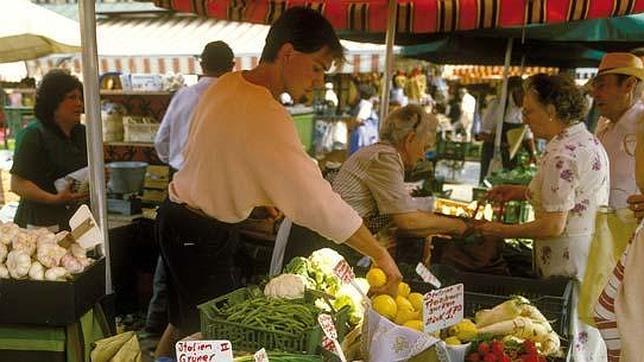 Algunos de los puestos de Viktualienmarkt