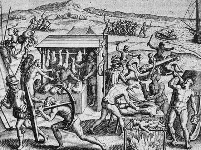 Grabado de algunos «aportes» españoles, según la leyenda negra.