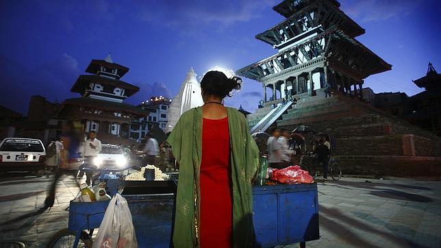 Un puesto de comida en Kathmand