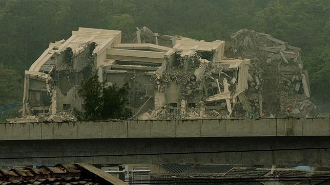 La iglesia cristiana de Sanjiang, demolida la semana pasada en la provincia china de Zhejiang, al sur de Shanghái
