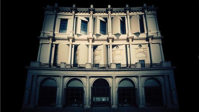 Recreación de cómo se verá esta noche la fachada del Teatro Real