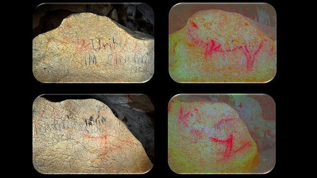Hallan pinturas rupestres de gran tamaño en una cueva de Vizcaya