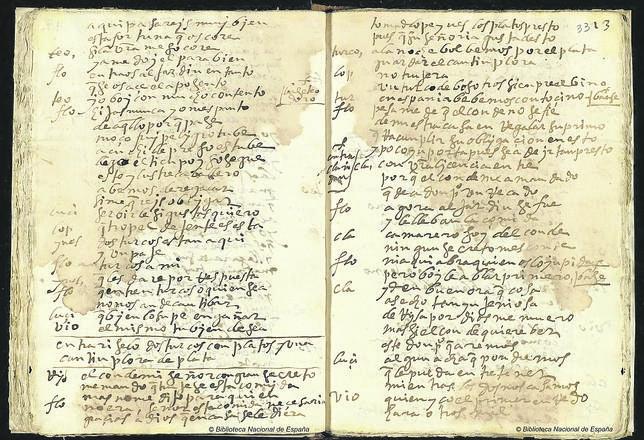 Imagen del manuscrito de «Mujeres y criados», hallado en la Biblioteca Nacional