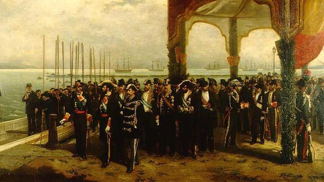 Embarque del Rey Amadeo en el puerto de La Spezia, Italia en 1870