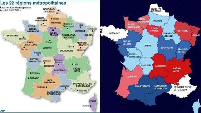 Hollande decide reducir de 22 a 14 el número de regiones de Francia