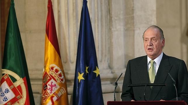 Juan Carlos I en un acto conmemorativo del 25 aniversario del Tratado de Adhesión de España y Portugal a la UE