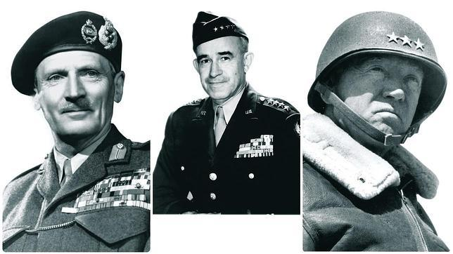Bernard Montgomery, George Patton y Omar Nelson Bradley