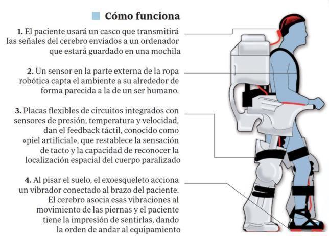 Un «traje» controlado con la mente permitirá caminar a los parapléjicos