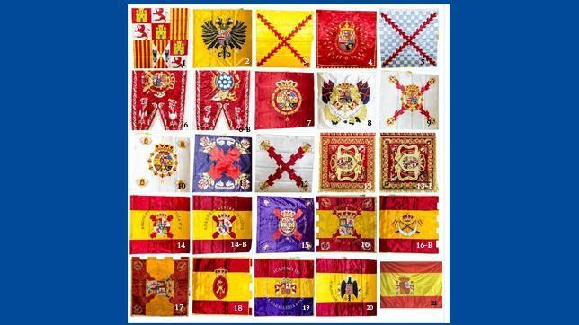 Así son las 21 banderas más representativas de la historia militar española