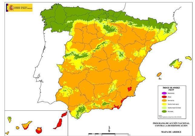 Mapa del territorio en función de su aridez. Los colores más cálidos están en las zonas más secas