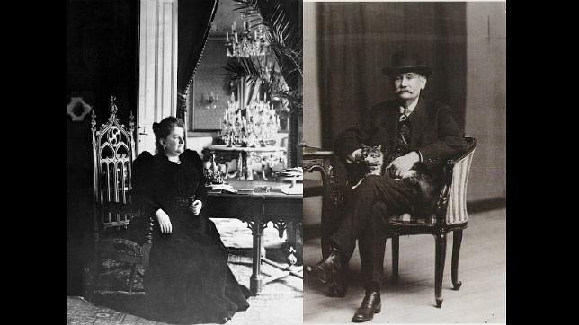 A la izquierda, Emilia Pardo Bazán, a la derecha, Pérez Galdós