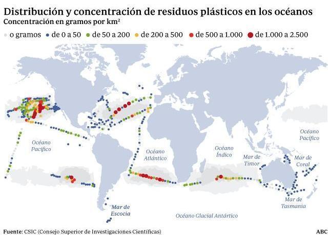 Hallan cinco enormes basureros flotantes en el océano abierto