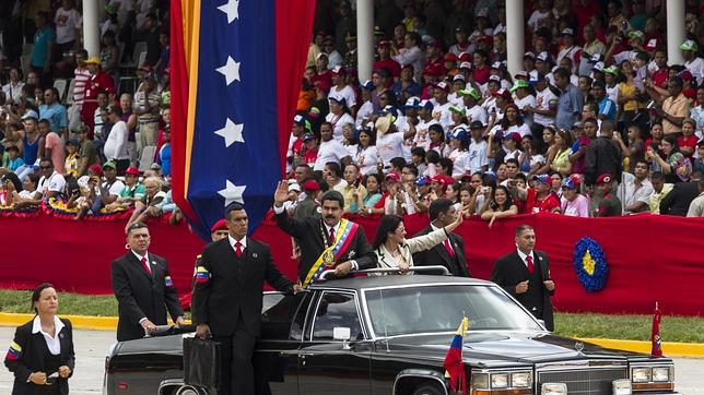 Nicolás Maduro, en el desfile militar del 203 aniversario de la independencia, este sábado en Caracas
