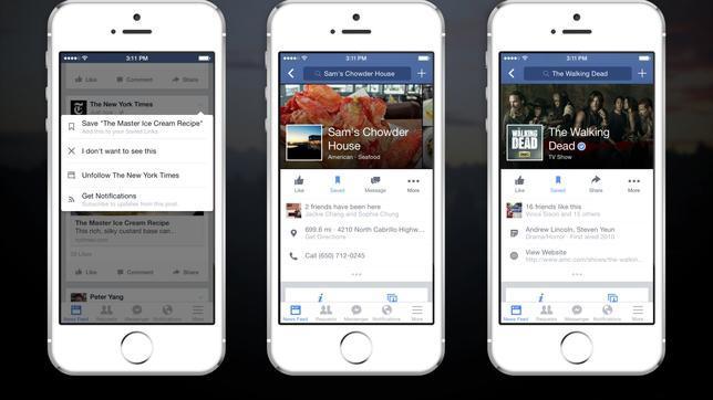 Facebook añade la función de «guardar» para ver después