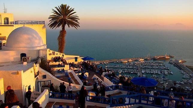 Atardecer en el Café des Delices, en Sidi Bou Said