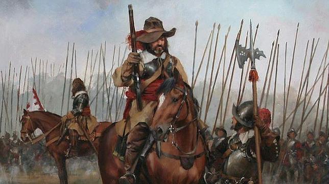 Detalle de un capitán de los Tercios de Flandes en el cuadro «El Camino Español»