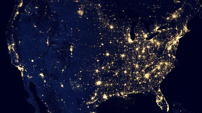 Iluminación nocturna de Estados Unidos visto desde el espacio