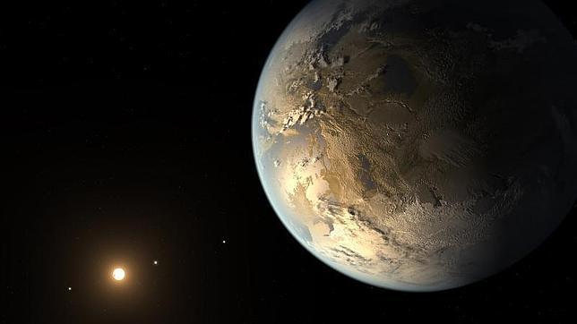 Ilustración del sistema Kepler-186, con el planeta similar a la Tierra en primer plano