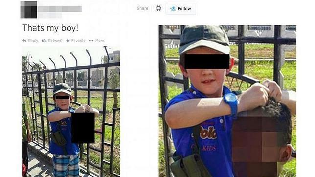Un yihadista australiano del Estado Islámico fotografía a su hijo con la cabeza decapitada de un soldado sirio