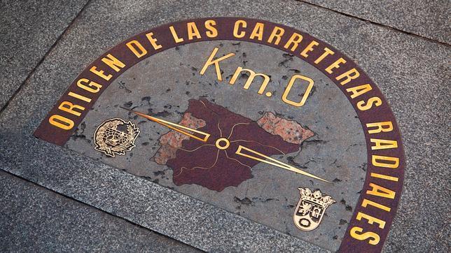 Placa del kilómetro cero en la Puerta del Sol