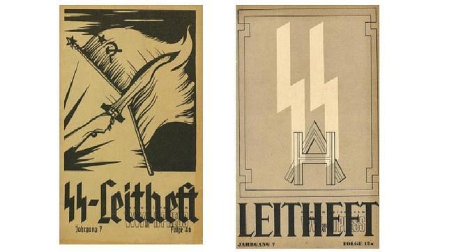 Portadas de la revista oficial de las SS, con letra gótica y latina