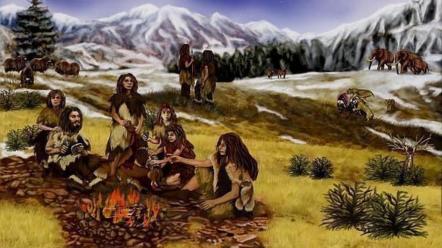 Recreación de un grupo neandertal