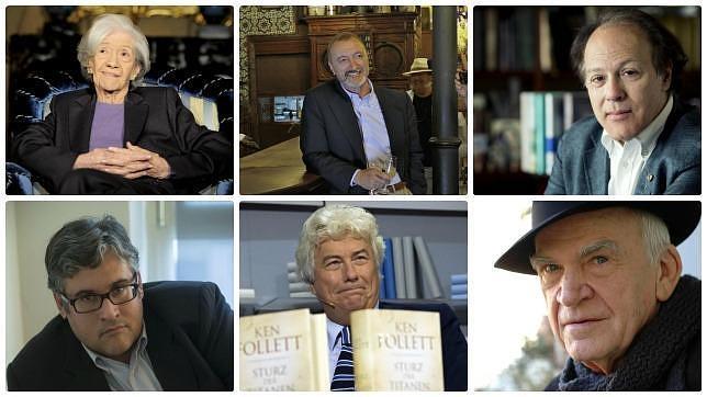 De izquierda a derecha y de arriba a abajo: Ana María Matute, Arturo Pérez-Reverte, Javier Marías, Juan Manuel de Prada, Ken Follett y Milan Kundera