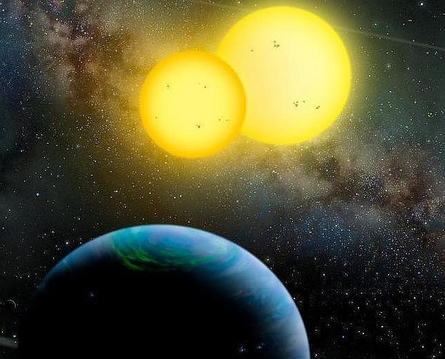 Ilustración de un planeta que orbita dos estrellas