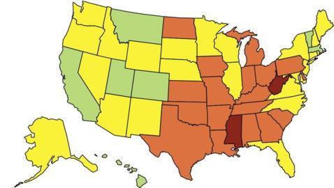 Prevalencia de obesidad en EE.UU: en rojos los estados con mayor número de obesos y en verde los que menos