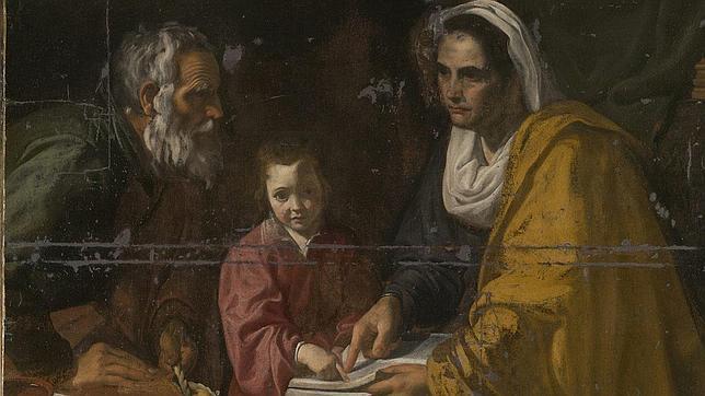 «La educación de la Virgen», antes de su restauración
