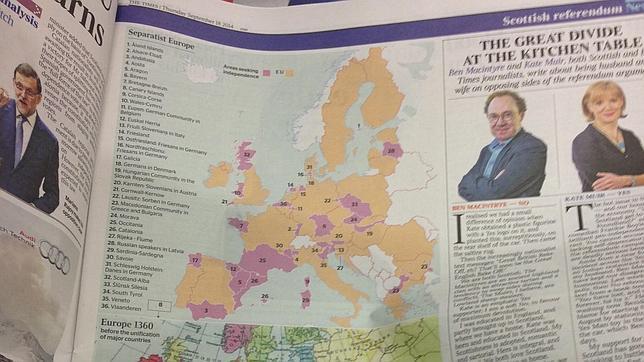 El mapa publicado por «The Times»