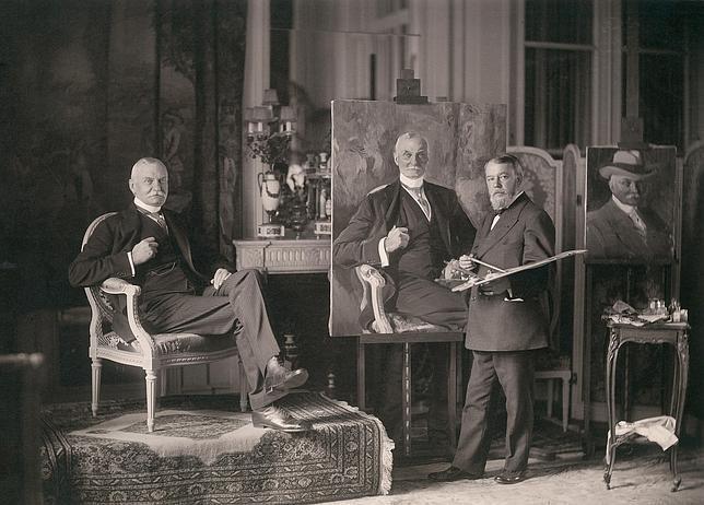 Joaquín Sorolla retratando a Thomas Fortune Ryan en París, 1913. Fue uno de sus grandes mecenas en EE.UU.