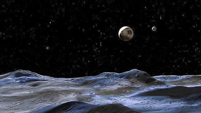 Plutón, el disco grande en el centro, visto desde una de sus lunas