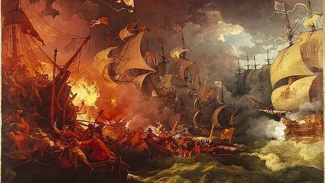 Cuadro de la derrota de la Armada Invencible, por Loutherbourg (1796)