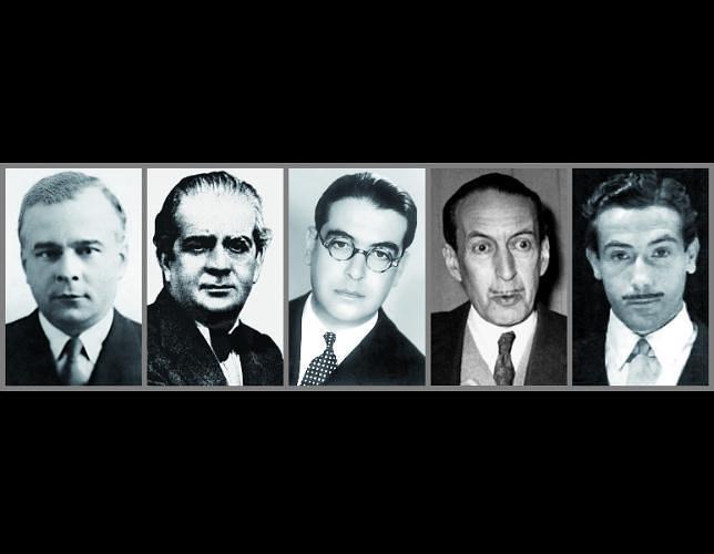 Corresponsales de ABC durante la Segunda Guerra Mundial. De izquierda a derecha: Luis Calvo, Felipe Sassone, Jacinto Miquelarena, César González Ruano y Carlos Sentís