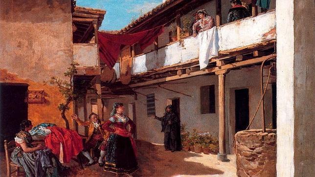 La obra de Manuel García Hispaleto (1836-1898) retrata la corrala de la casa de los hermanos Juan y Roque