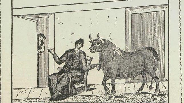 Ilustración del Tonto del bote publicada por la revista taurina «Palmas y Pitos» en 1914
