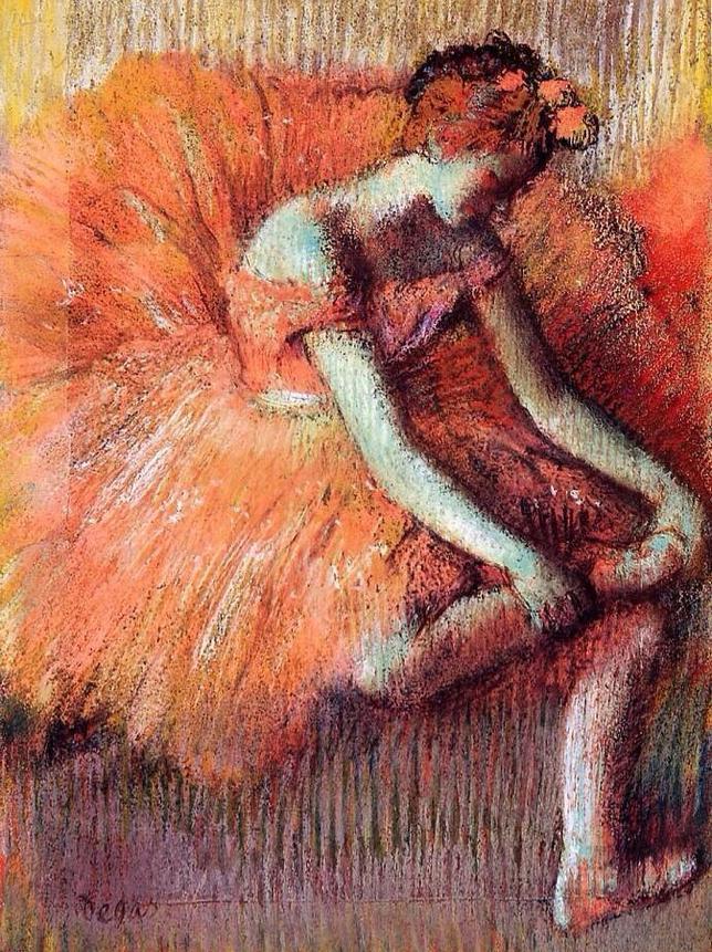 «Ajuste de la zapatilla de bailarina» (1870), de Degas