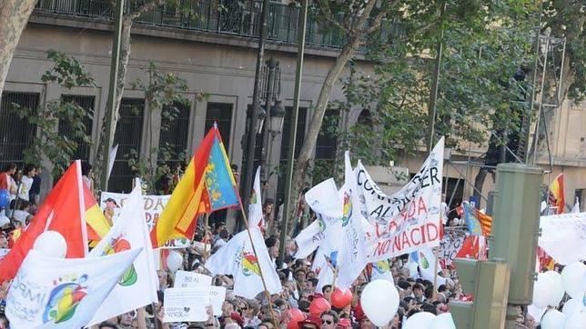 Manifestación en defensa de la vida en octubre de 2009