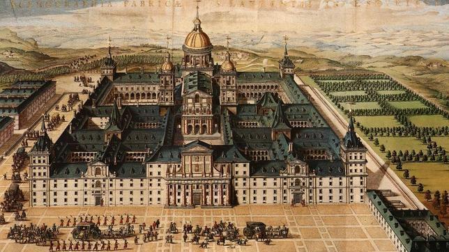 Pintura de la época de la construcción del Monasterio de El Escorial, desde su fachada principal