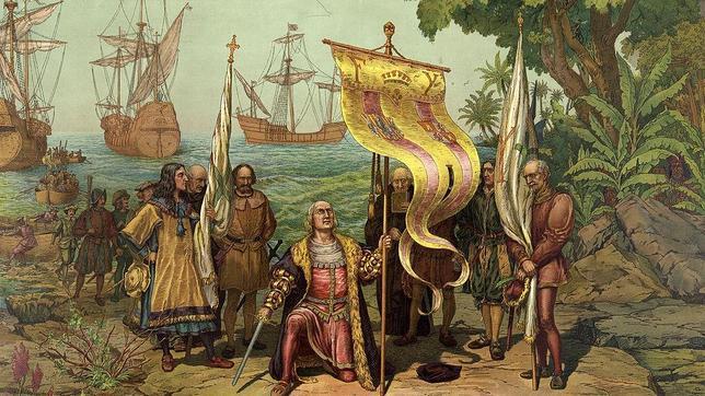 Colón tomando posesión de Guanahani en nombre de los Reyes Católicos el 12 de octubre de 1492