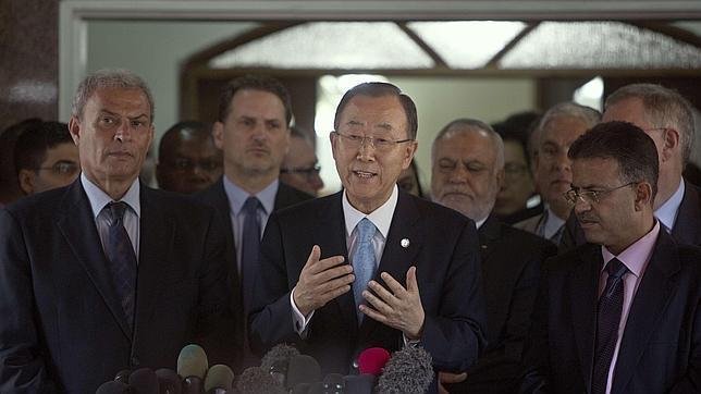 El secretario general de la ONU, Ban Ki-moon, durante una rueda de prensa en Gaza