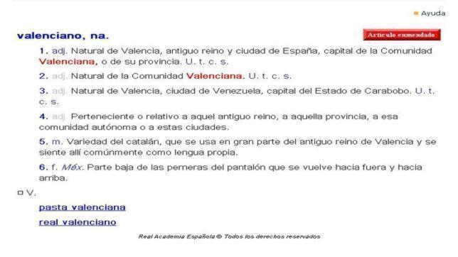 Imagen de la definición de valenciano en el calendario de la RAE