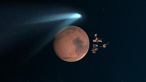 Los orbitadores de la NASA, resguardados detrás de Marte, ante el paso del Siding Spring (ilustración)
