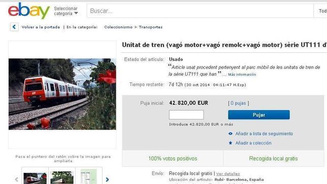 Captura de pantalla de la página de subastas eBay