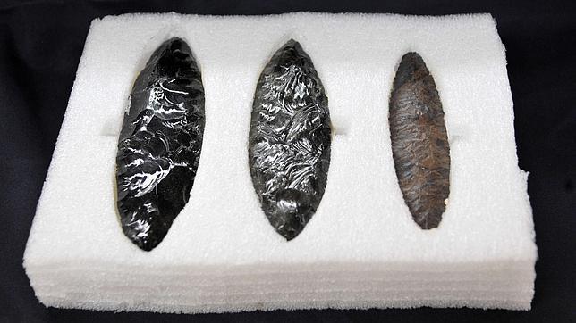 Objetos encontrados, hechos de obsidiana