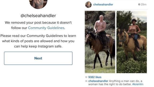 La imagen que Handler subió a Instagram (derecha) junto al mensaje que recibió por parte de la red social (izquierda)