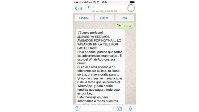Detalle del mensaje que ha comezado a propagarse a través de WhatsApp