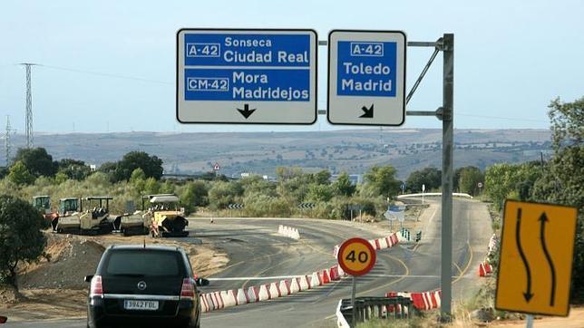 La carretera entre Toledo y Ciudad Real, en obras, en el año 2007